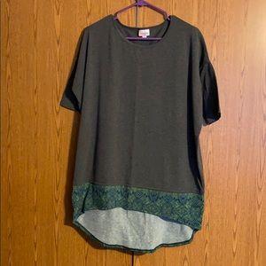 Lularoe Irma shirt. Gray with print at bottom